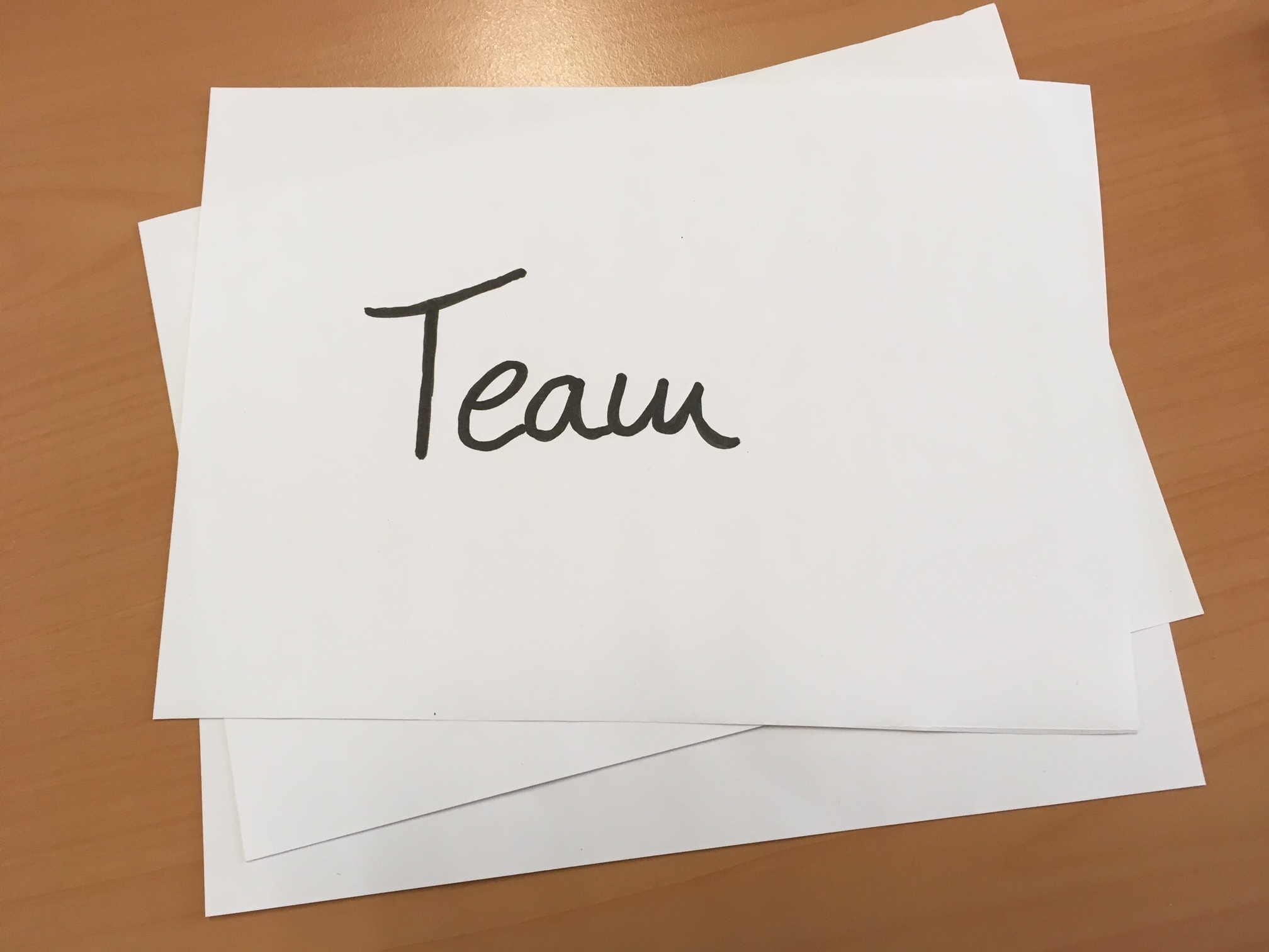 """Team"" - black writing on white background"